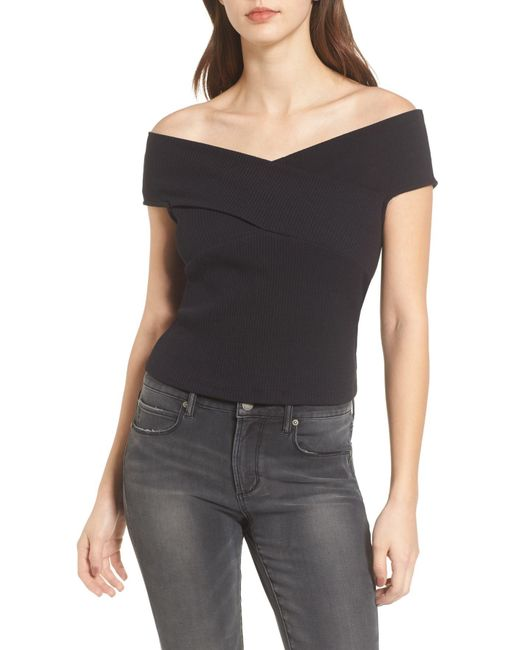Lush - Black Crisscross Off The Shoulder Top - Lyst