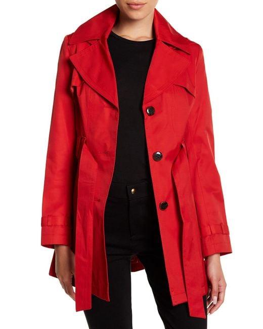 Via Spiga | Red Hooded Trench Coat (petite) | Lyst