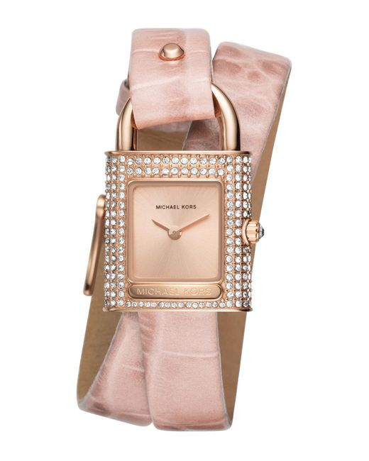 MICHAEL Michael Kors - Women's Isadore Rose Gold-tone And Pink Leather Watch - Lyst