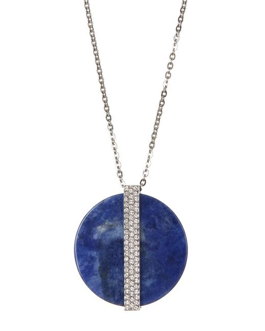 Swarovski - Blue Y Crystal Accented Large Disc Pendant Necklace - Lyst