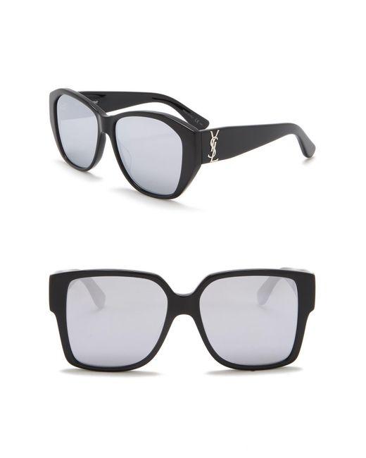 560f4fcec85 Saint Laurent - Black 55mm Square Sunglasses for Men - Lyst ...