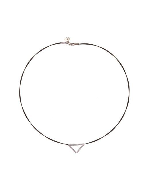 Alor - Black Two-tone Diamond Detail Open Triangle Charm Necklace - 0.26 Ctw - Lyst