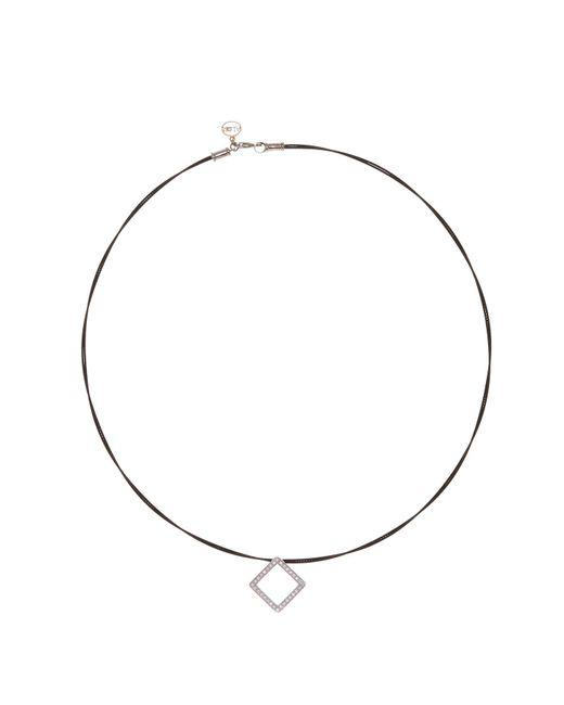 Alor - Black Diamond Detail Open Diamond Shape Charm Necklace - 0.27 Ctw - Lyst