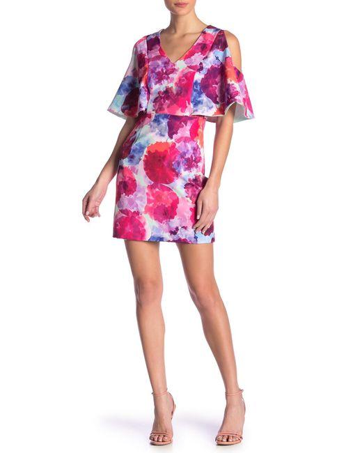 Trina Turk - Pink Oakhurst Cold Shoulder Floral Print Dress - Lyst