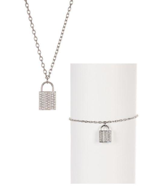 Swarovski - Metallic Case Crystal Necklace & Bracelet 2-piece Set - Lyst