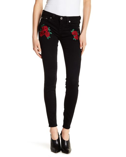 True Religion - Black Rose Embroidered Super-skinny Jeans - Lyst