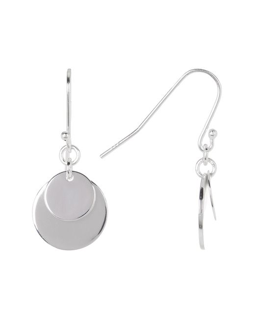 Argento Vivo | Metallic Sterling Silver Double Disc Drop Earrings | Lyst
