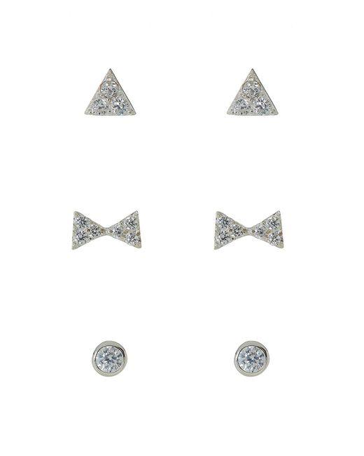 Argento Vivo | Metallic Pave Circle, Bow & Triangle Stud Earrings Set - Set Of 3 | Lyst
