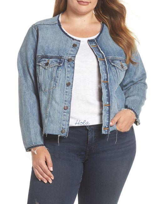Lucky Brand - Blue Smart Distressed Trucker Denim Jacket (plus Size) - Lyst