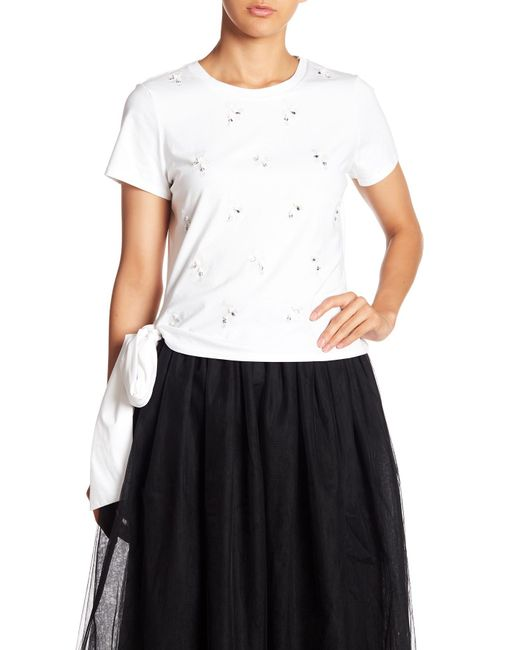 Cinq À Sept - White Embroidered Tied Shirt - Lyst
