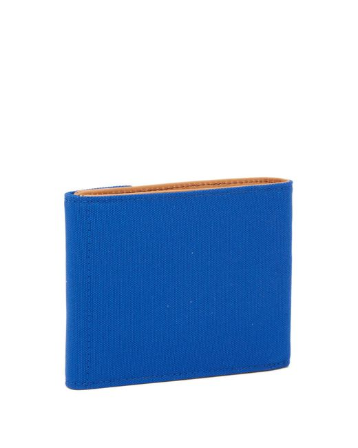 Fossil - Blue Gabe Snap Leather Bifold Wallet for Men - Lyst