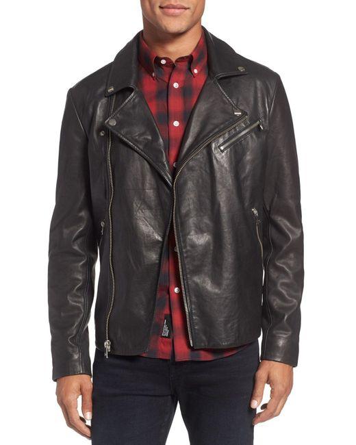 Lamarque - Black Leather Biker Jacket for Men - Lyst