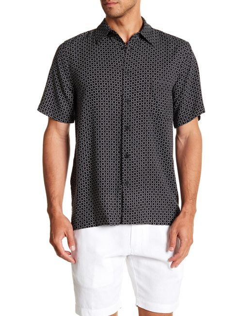 Tocco Toscano - Black Short Sleeve Print Woven Shirt for Men - Lyst