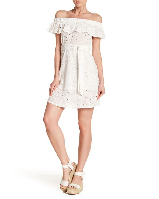 Haute Rogue - White Off-the-shoulder Eyelet Dress - Lyst