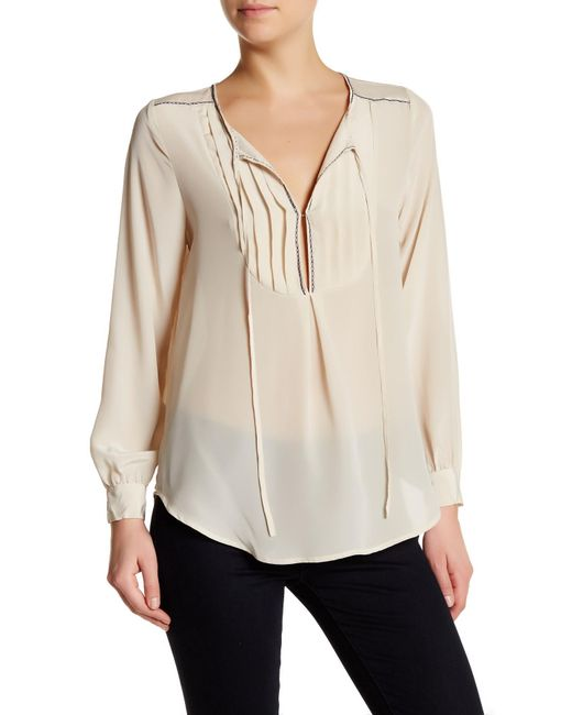 Johnny Was Pintucked Silk Blouse In Natural Lyst