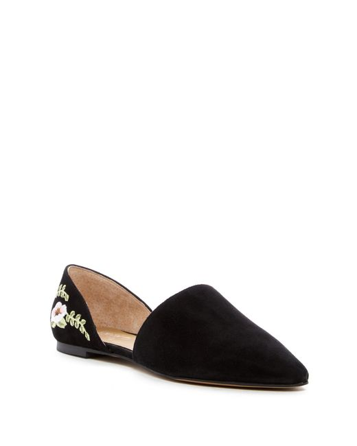 Franco Sarto | Black Sanora D'orsay Floral Embroidered Flat | Lyst