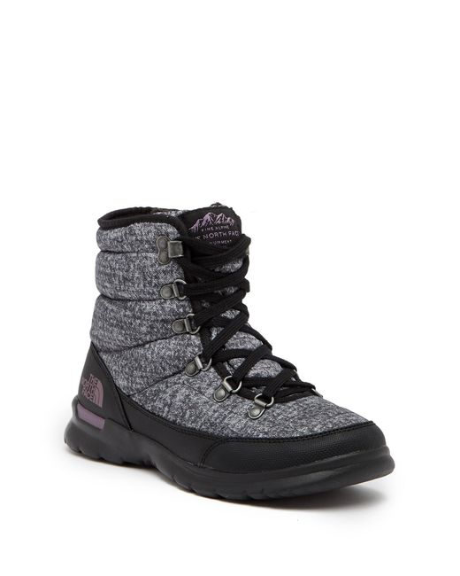 The North Face - Black Thermoball Lace Ii Faux Fur Waterproof Ankle Boot - Lyst