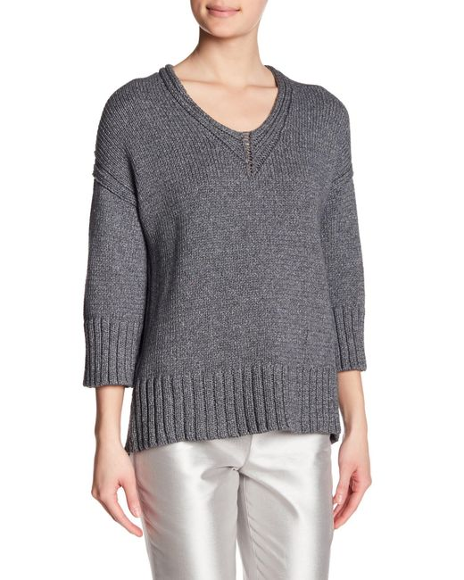 Lafayette 148 New York - Gray Chunky Knit V-neck Sweater - Lyst