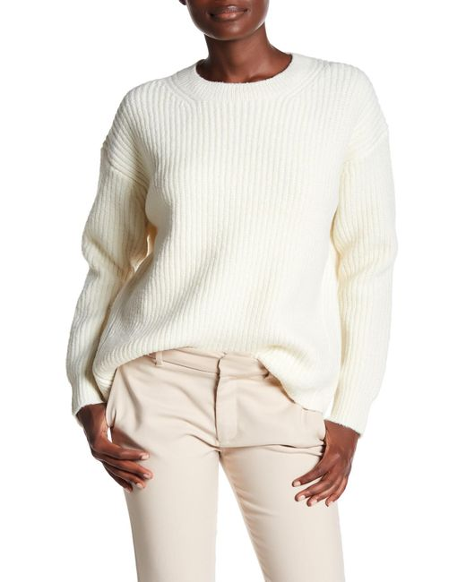 Vince - White Wool Blend Half Cardigan Crew Sweater - Lyst