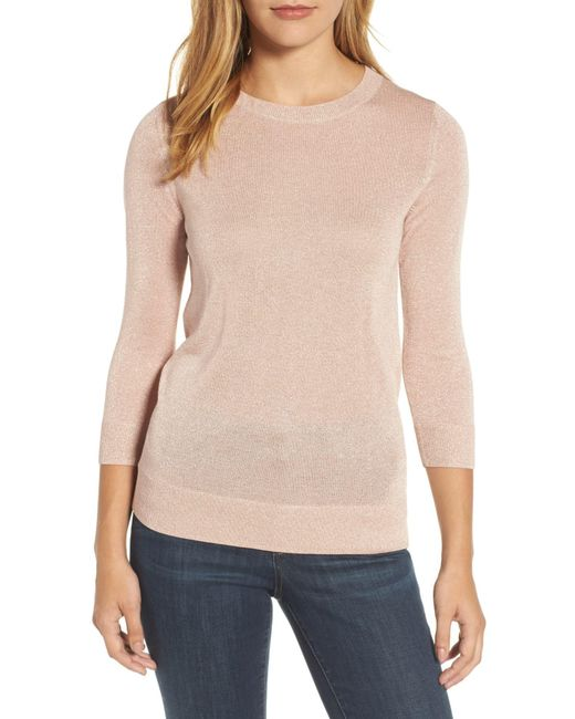Lyst Halogen R Shimmer Sweater Regular Petite In Pink