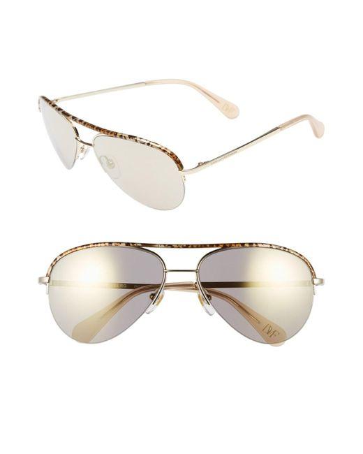Diane von Furstenberg | Metallic Women's Farrah Aviator Metal Frame Sunglasses | Lyst