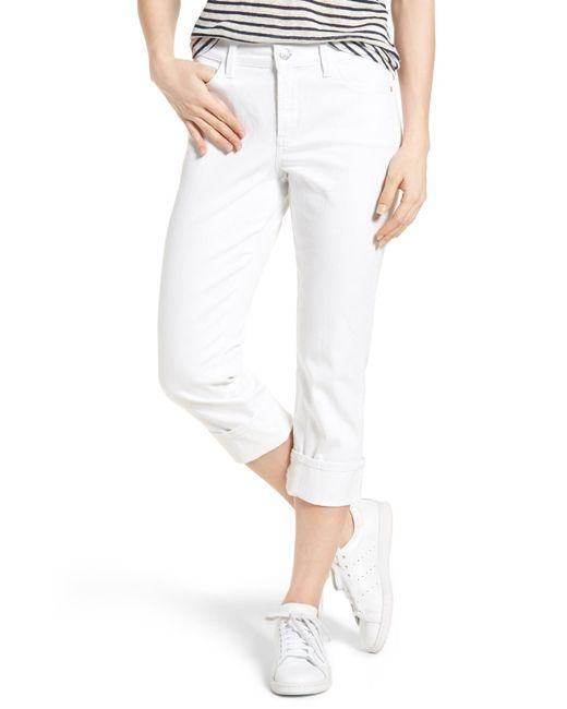 NYDJ | White Dayla Colored Wide Cuff Capri Jeans | Lyst