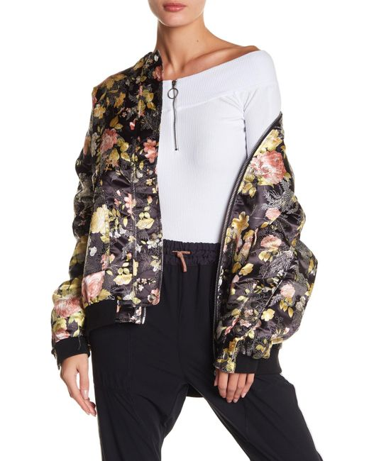 Free People | Black Floral Jacquard Bomber Jacket | Lyst