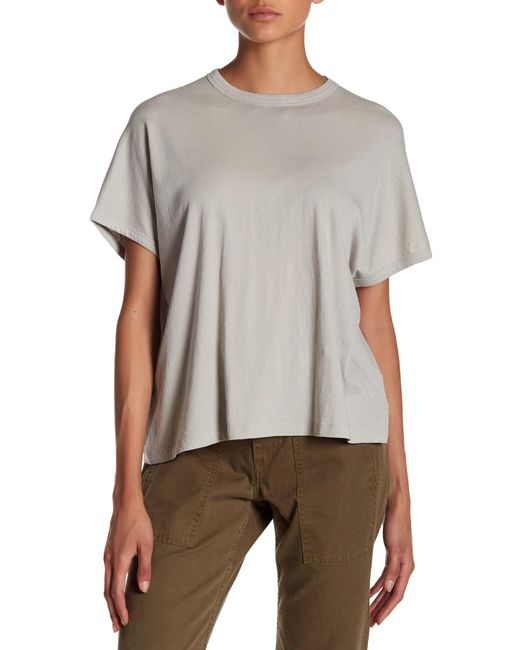 Vince | Gray Ribbed Back Pima Cotton Tee | Lyst