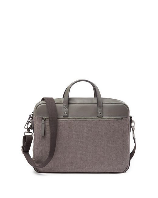 Fossil - Gray Haskell Double Zip Briefcase for Men - Lyst