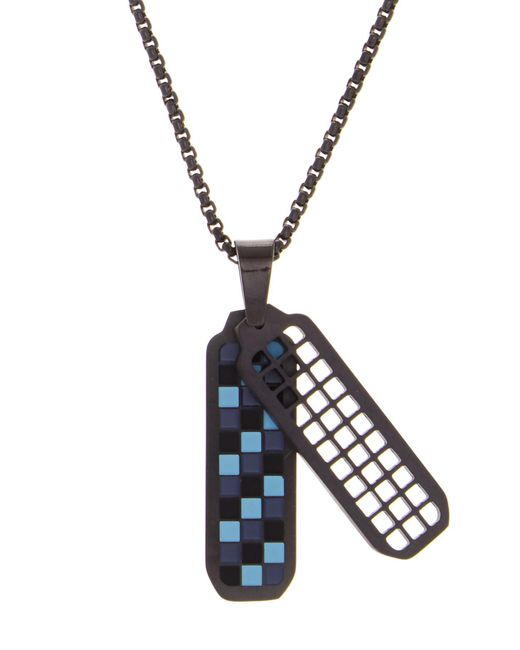 Ben Sherman - Blue Stainless Steel Checkerboard Pendant Necklace - Lyst