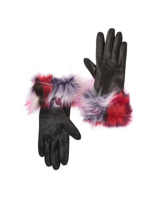 Ugg Multicolor Faux Fur Cuff Leather Patchwork Gloves