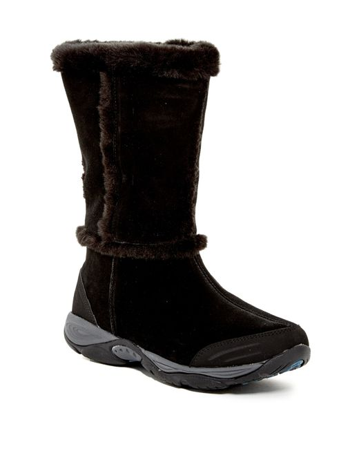 Easy Spirit | Black Elk Faux Fur-trimmed Suede Boots | Lyst