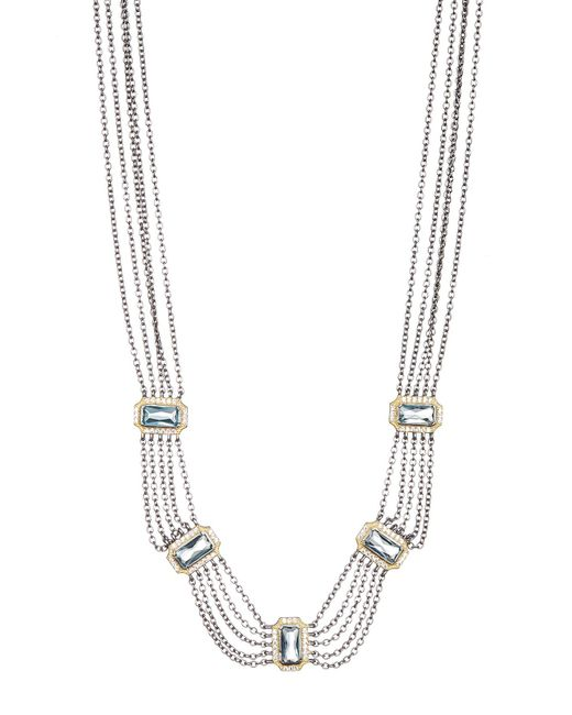 Freida Rothman - Metallic Multi-chain Cz Embellished Bib Necklace - Lyst