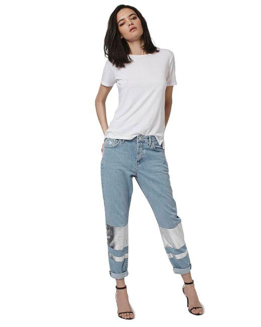 TOPSHOP   Blue 'hayden' Silver Stripe Boyfriend Jeans (petite)   Lyst