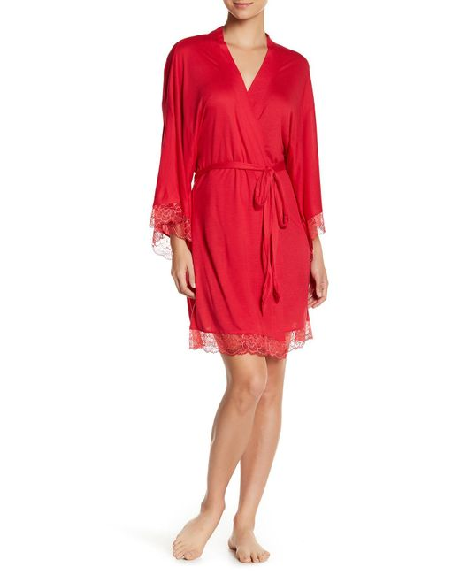 Eberjey | Red 'cassandra' Kimono Robe | Lyst