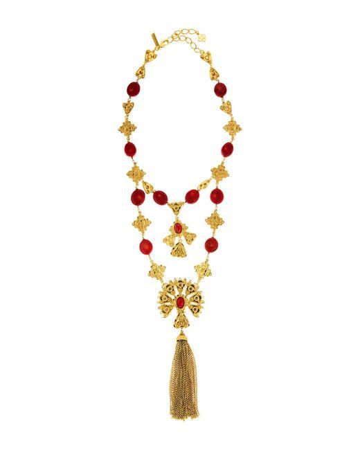 Oscar de la Renta - Metallic Double Tier Cabochon Charm Tassel Necklace - Lyst