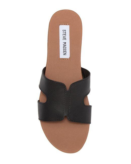 52d3642b3b4 Steve Madden Hoku Leather Slide Sandal in Black - Lyst