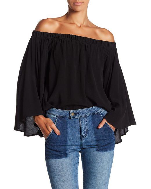 Fifteen Twenty | Black Flare Sleeve Off The Shoulder Blouse | Lyst