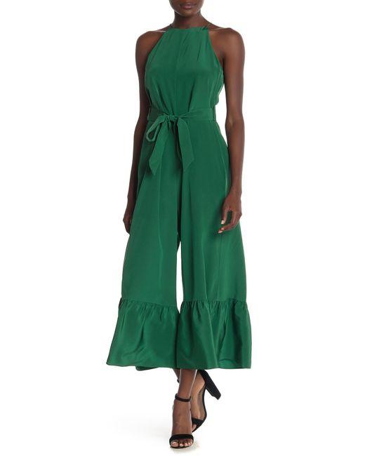 Tibi - Green Silk Ruffled Jumpsuit - Lyst
