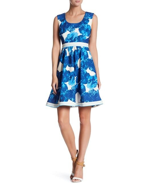 Plenty by Tracy Reese | Blue Printed Stretch Knit Dress | Lyst