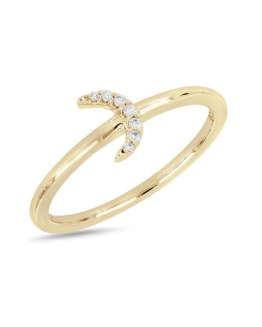 Bony Levy - Metallic 18k Yellow Gold Diamond Half Moon Ring - 0.04 Ctw - Lyst