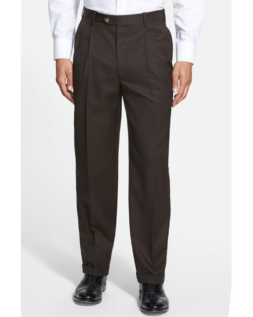JB Britches - Brown Pleated Super 100s Worsted Wool Trousers for Men - Lyst