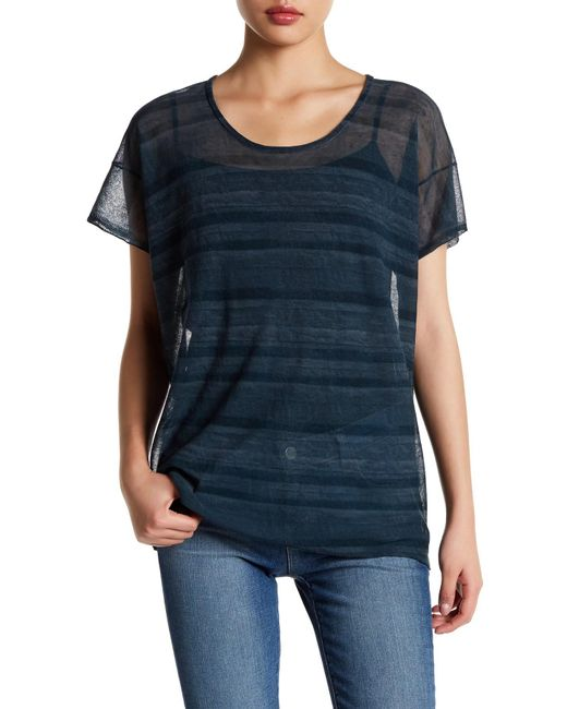 Inhabit | Blue Sheer Knit Tee | Lyst