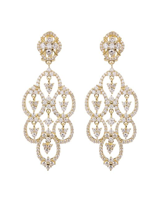 Judith Ripka - White Gold Plated Sterling Silver Cz Clip Earrings - Lyst