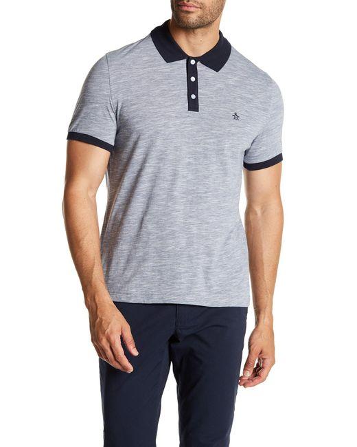 Original Penguin | Blue Contrast Collar Slub Polo Shirt for Men | Lyst