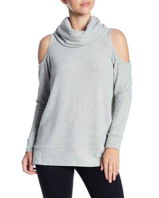 Cupcakes And Cashmere - Gray Malden Turtleneck Cold Shoulder Sweater - Lyst