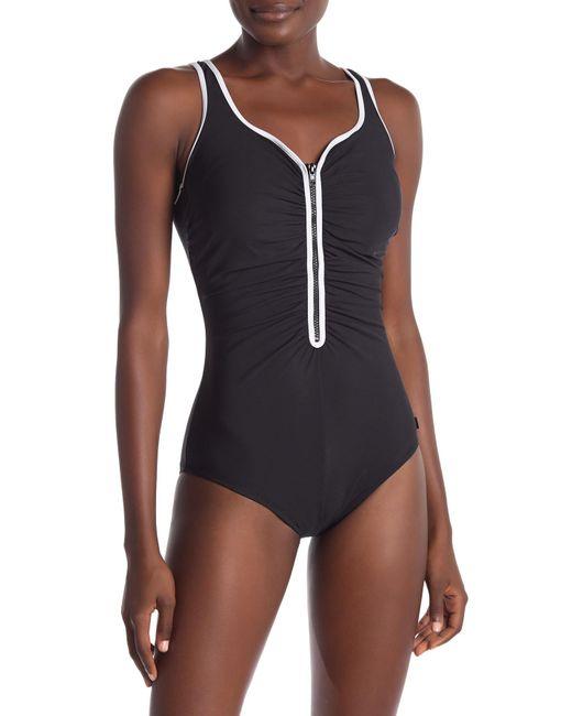 Reebok - Multicolor Zigzag Zip One-piece Swimsuit - Lyst