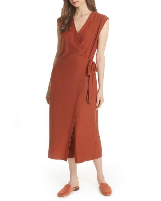 Eileen Fisher - Red Wrap Crop Wide Leg Jumpsuit - Lyst