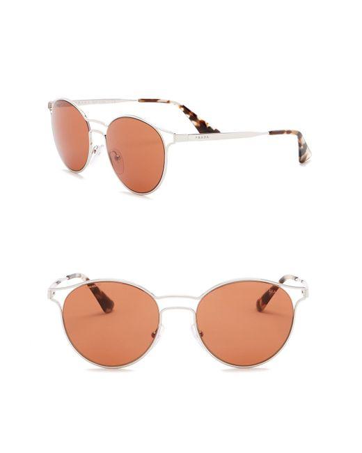 Prada - Metallic Phantos Catwalk 53mm Round Sunglasses - Lyst