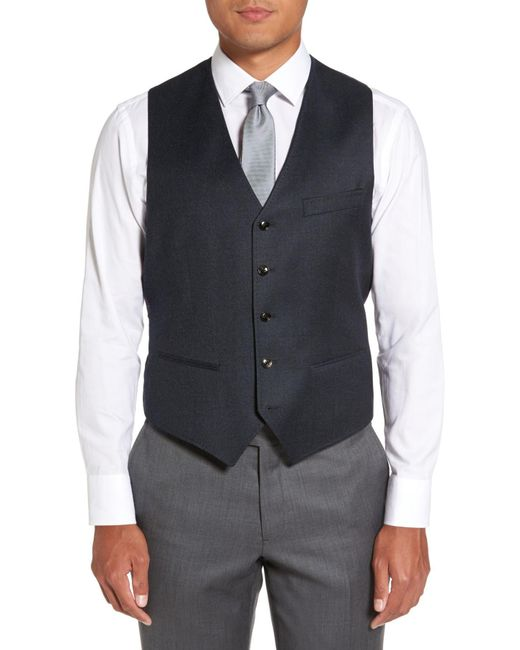 Ted Baker - Blue Troy Trim Fit Solid Wool Vest for Men - Lyst